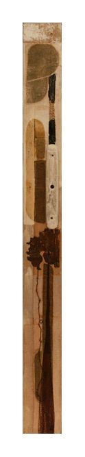 Titolo: Quadro viscerale. Tecnica: acrilico, carta, stoffa, gesso, legno, corda, plastica, rete da pesca, ferro su tavola. cm 15 x 160. Anno: 2009.