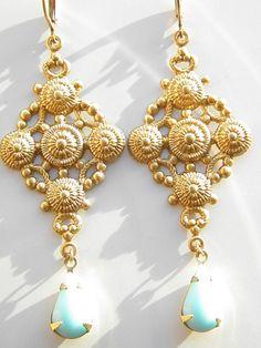 Vintage Earrings – Byzantin inspiration Pierced Earrings Vintage 70's – a unique product by A-MON-SEUL-PLAISIR on DaWanda