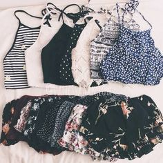 convexly:tops: crop top / white lace / floral top & shorts /...