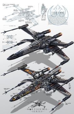 Super cool and detailed X-Wing fighter art from the Star Wars movies. Star Wars Film, Nave Star Wars, Star Wars Fan Art, Star Wars Poster, Star Citizen, Maquette Star Wars, Tableau Star Wars, Images Star Wars, Star Wars Spaceships