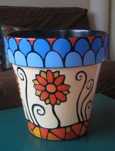 macetas pintadas a mano con exclusivos diseños - Buscar con Google Clay Flower Pots, Flower Pot Crafts, Clay Pot Crafts, Flower Planters, Painted Clay Pots, Painted Flower Pots, Hand Painted Ceramics, Ceramic Pots, Terracotta Pots