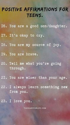 70+ Positive Affirmations For Teens From Parents
