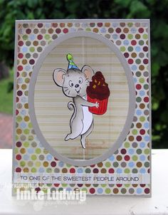 Art Impressions Rubber Stamps: AI Spinners...Frosting Spinner (sku# 4573) and Frosting Spinner Dies (sku# 4615). Handmade birthday card...Life is Short....Eat the frosting!!! mouse cupcake, interactive