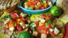 Spicy Watermelon & Jicama Salsa with Grilled Tostadas - Que Rica Vida Mild Salsa, Salsa Picante, Carne Asada, Mexican Food Recipes, Healthy Recipes, Ethnic Recipes, Mexican Cooking, Healthy Food, Summer Snacks