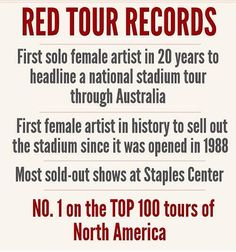RED Tour infographic -- Taylor is absolutely amazing Long Live Taylor Swift, Taylor Swift Fan, Taylor Swift Songs, Swift 3, Taylor Alison Swift, Loving Him Was Red, Red Tour, She Song, Love You