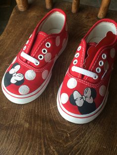 Toddler Minnie Mouse Vans by BrittBratsCreations on Etsy https://www.etsy.com/listing/252865249/toddler-minnie-mouse-vans