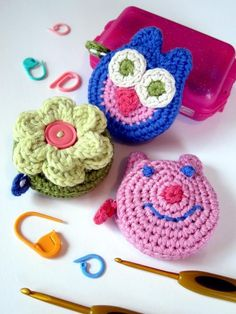 Lots of ideas for using up left-over yarn. For example - Mini Crocheted Tape Measure Covers