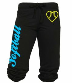 """Softball Capri with Heart Shaped Softball Juniors Sizes. All items are printed to order. Capri pant with """"Softball"""" written on the right pant leg and a heart shaped softball printed on the upper left leg. Juniors and Adult sizes available."""