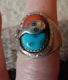 Effie vintage Native American Jewelry sterling turquoise ring Navajo  coral size 8 ring estate jewelry horse Texas Harley Davidson ring by CherokeeKachinaCasey on Etsy