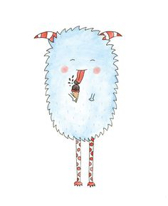 George S Monster eating an ice cream. Illustration by HelloPants, $30.00