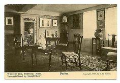 Old Interior Parlor Wayside Inn Sudbury Massachusetts Vintage Postcard 1900s | eBay