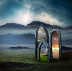 This is beautiful. A magical doorway or portal, to what worlds does it lead? Fantasy Kunst, To Infinity And Beyond, Story Inspiration, Fantasy World, Doorway, Photo Manipulation, Mystic, Concept Art, Scenery