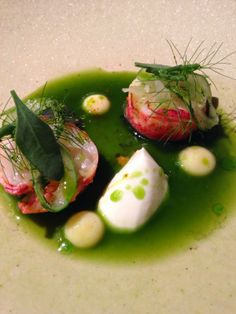 Poached lobster tail, black squid, lemon curd & horse radish cream