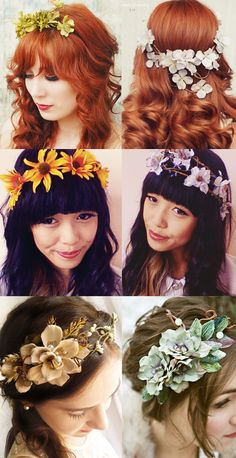 This makes me smile and long for Spring. I want to wear flowers in my hair. :) , for the bridesmaids. Pretty Hairstyles, Wedding Hairstyles, Flowers In Hair, Flower Hair, Spring Flowers, Hair Garland, Floral Headpiece, Floral Crown, Dark Hair