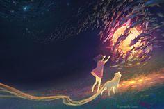 Bring Me the Moon, (Yuumei) Wenqing Yan Yuumei Art, Fisheye Placebo, Mountain Music, Tumblr, Sad Anime, Anime Art, Album, Manga Pictures, Comic Artist
