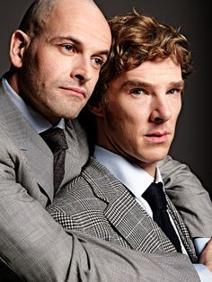 The 2 Sherlocks!  Johnny Lee Miller and Benedict Cumberbatch. I don't really like Johnny's hair in this one, but still a good photo.