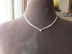 Herringbone Flat Design Style Silver with Clear CZ Diamond, Nice Choker Size Precious Metal Vintage Jewelry, Free Shipping in USA by GiftShopVintage on Etsy