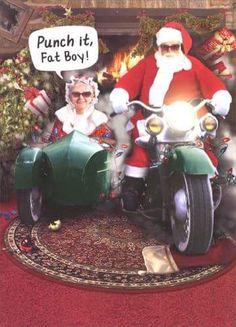 over the hill bikers, like me Christmas Humor, Christmas Fun, Black Christmas, Christmas Cards, Ural Motorcycle, Motorcycle Humor, Christmas Boarders, Harley Davidson Decals, Bad Santa