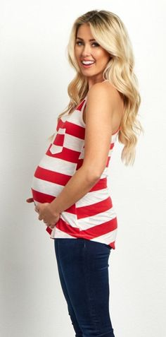 This adorable striped maternity tank top is the perfect transition piece from spring to summer. With a racerback and pocket front detail, this top features all of our favorite things. Style this maternity top with maternity jeans or shorts for casual everyday wear.
