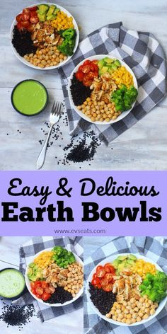 Super easy, flavorful, nutrient packed Earth bowls that can be made in your very own home! Packed with protein & antioxidants! Superfood Recipes, Vegetarian Recipes, Cooking Recipes, Healthy Recipes, Healthy Meals, Healthy Grains, Different Vegetables, Food Diary, Vegetarische Rezepte