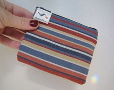 Blue and red stripes coin purse credit card bag  by blackbirdbag, €6.90