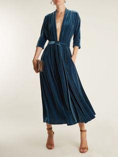 Click here to buy Luisa beccaria Deep V-neck tie-waist velvet midi dress at MATCHESFASHION.COM