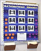 This bulletin board is intended as a final exam review for 7th grade mathematics. Various topics that will be reviewed are Measurement, Ratio & Proportion, Properties of Numbers, Percents, Decimals, Fractions, Geometry, Square Roots, and Basic Arithmetic.