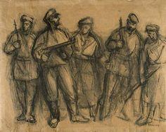 Jewish Partisans, 1943, Alexander Bogen, Ink on paper