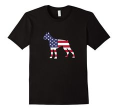 Men's Boxer Dog American Flag 4th Of July Patriotic T-shirt Gift 2XL Black