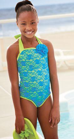 Middle school girls in swimwear