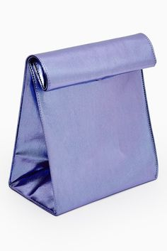 SMK is formerly known as YESIMFRENCHThis minimalistic clutch is perfect for daytime use and is big enough to carry all your essentials. The metallic purple/blue colour is fresh and imparts a hint of futurism into your look. A must for the trendy fashionista!Details:* Structured rectangular base* Rolls at the top andsecured with a magnetic closureApproximate dimension: 21cm H x 20cm W x 12cm DComposition:* 20% rayon* 10% aluminium* 70% polyester
