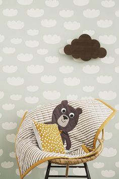 Decorate your kids room with all the beautiful design from ferm LIVING. Shop organic beddings for babies or juniors & designer cushions for kids. Ferm Living Wallpaper, Mint Wallpaper, Cloud Wallpaper, Baby Bedroom, Kids Bedroom, Bedroom Ideas, Cloud Lamp, Color Menta, Deco Kids