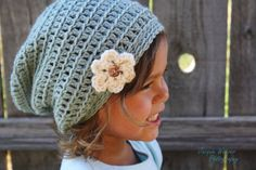 Crochet Slouch Beanie Baby Girl Hat by SoLaynaInspirations on Etsy, $20.00