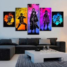 """""""5pcs Soul of Naruto Characters Picture Abstract Wall Art Canvas Paintings HD Wall Picture for Living Room Decor"""" Abstract Wall Art, Canvas Wall Art, Canvas Paintings, All Out Anime, Multi Picture, Naruto Characters, Living Room Pictures, Spray Painting, Picture Wall"""