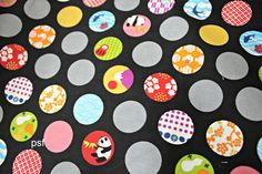 New polka dots panda Black from Cosmo Japanese prints - 1 yard
