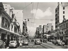 Looking up West Street towards the Berea, with Henwoods Ltd. on the front right, Durban. Durban South Africa, West Africa, Old Pictures, Old Photos, Pretoria, Kwazulu Natal, African History, Historical Society, Historical Photos