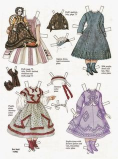 Estelle and Her Fashions from 1868 Godey's Lady's Book paper doll by Pat Stall (2 of 2) | Gabi's Paper Dolls