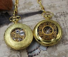 Set of 4 Engravable Golden Pocket Watch steampunk winding mechanical Pocket watch groomsmen gift best man gift father of the brideEngravable by PocketWatchEngraved on Etsy