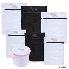 Protective Laundry Bags for Washing Lingerie and Other Delicates (Silk Stockings, Lace Underwear, etc.) - Set of 7 including Bra Wash Bag - Premium Quality Mesh - Rust/Scratch Free Zipper