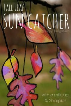 Fall Leaf Sun Catcher for Kids to Make - This gorgeous sun catcher is so easy to make, using just a plastic container and Sharpie markers! Fun ang beautiful autumn craft and art process for kids of all ages - Happy Hooligans Autumn Activities For Kids, Fall Preschool, Craft Activities, September Activities, Children Activities, Physical Activities, Exercise Activities, Nature Activities, Preschool Class