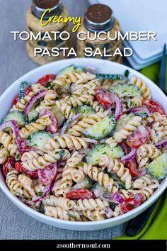 Vegetarian Pasta Recipes, Pasta Salad Recipes, Cooking Recipes, Healthy Recipes, Pasta Side Dishes, Pasta Sides, Cucumber Pasta Salad, Tomato Pasta Salad, Food Salad