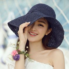 Navy straw sun hat for women with bow handmade beach hats