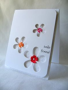 Love the use of the dies to create a peek through flower, with the buttons adhered on the inside