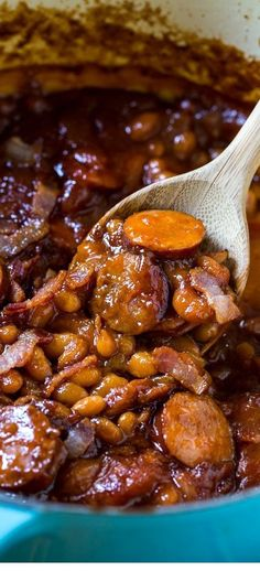 The Neely's Baked beans with smoked sausage. This is my very favorite baked bean recipe! The Neely's Baked beans with smoked sausage. This is my very favorite baked bean recipe! Smoked Sausage Recipes, Baked Bean Recipes, Pork Recipes, Crockpot Recipes, Cooking Recipes, Cooking Tips, Smoked Sausages, Baked Beans Recipe With Sausage, Recipies