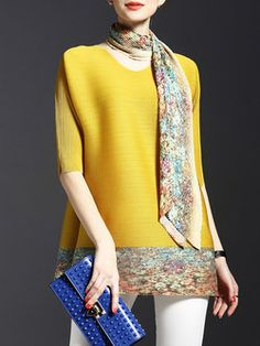 Casual Ribbed Polyester Tunic with scarf and matching trim