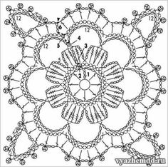 knitting pattern for a small motive Crochet Wool, Crochet Shirt, Thread Crochet, Crochet Stitches, Kids Crochet, Crochet Motif Patterns, Crochet Squares, Crochet Granny, Irish Crochet
