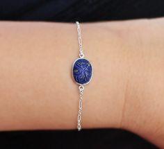 Carved Lapis Lazuli Silver Bracelet carved by SaruchiRJewellery
