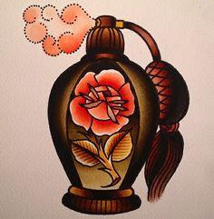 Old school perfume bottle tattoo design.
