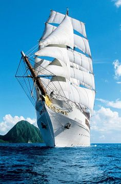 "The ""SEA CLOUD II"" is a square rigged, three-masted, steel hulled barque used as a cruise ship."