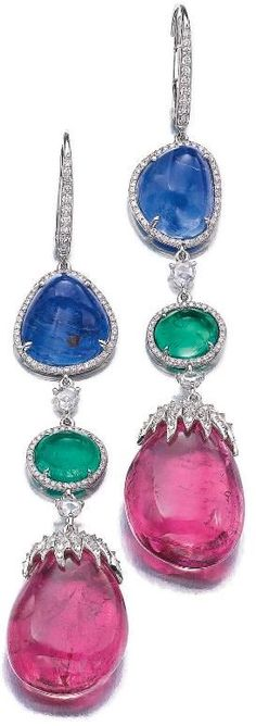 Gem-set and diamond earrings, Michele della Valle. With polished sapphires, emeralds, and tourmaline drops.